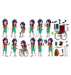 Asian girl poses set teenage health vector
