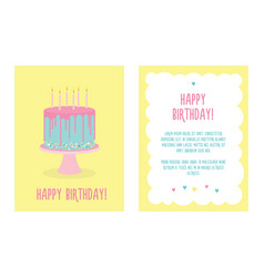 birthday greeting card with cake and candles vector image