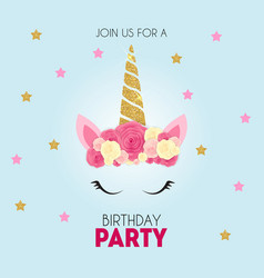 birthday party invitation with cute unicorn vector image