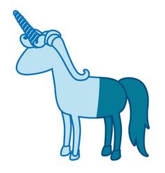 Blue silhouette of cartoon faceless unicorn vector