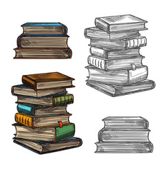 Book stack sketch for education literature design vector