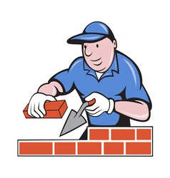 bricklayer mason at work vector image