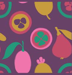Brush grunge exotic fruits seamless pattern vector