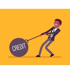 Businessman dragging a weight Credit on chain vector