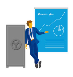 Businessman shows poster with business plan vector