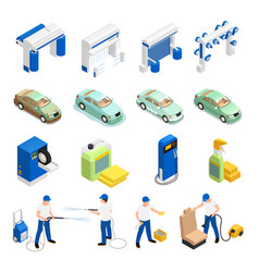 carwash icons set vector image