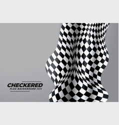 checkered flag cloth on gray background vector image