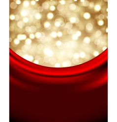 christmas background with red silk vector image