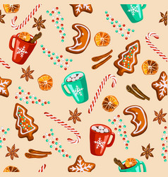 Christmas gingerbread mulled wine cocoa seamless vector