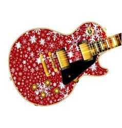 Christmas snowflake red guitar vector