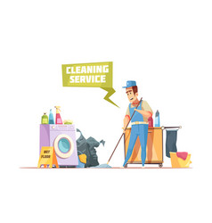 cleaning service design composition vector image