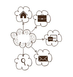 Cloud icons network service connection vector