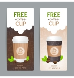 Coffee Coupon Set Free Cup vector