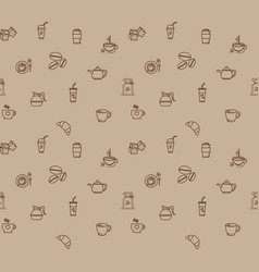 coffee icon set pattern seamless design for paper vector image