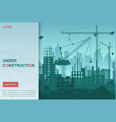 Construction works flat landing page vector