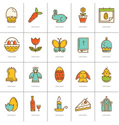 contour icons easter vector image