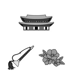 Country south korea monochrome icons in set vector
