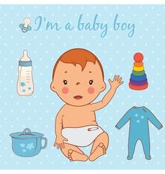 Cute baby boy vector
