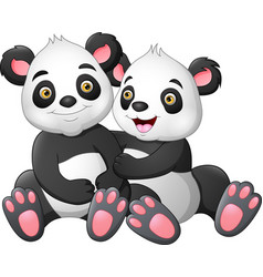 cute panda couple in love vector image