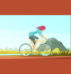 cycle tourist sportsman composition vector image