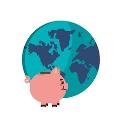 earth globe and piggy bank icon vector image