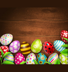 Easter eggs background top vector