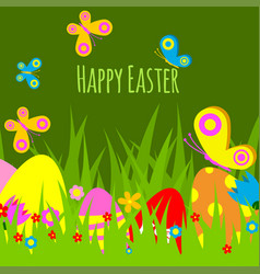easter eggs painted background with spring vector image