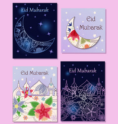 Eid mubarak cards set town silhouette and crescent vector