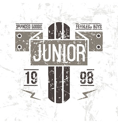 Emblem racing junior in retro style vector image