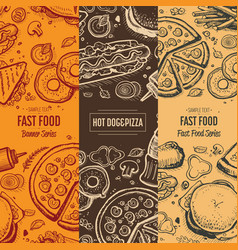 Fast food vintage hand drawn menu card set vector