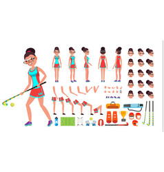 Field hockey player female animated vector