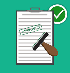 flat approved paper document vector image