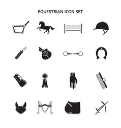 Flat black set horse equipment icon vector