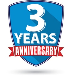 Flat design 3 years anniversary label with red vector image