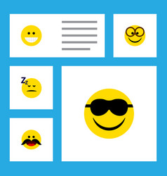 Flat icon emoji set of pleasant happy asleep and vector