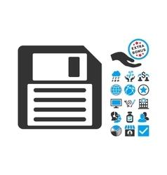 Floppy Flat Icon With Bonus vector