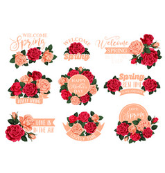 Flower bouquet with ribbon icon for mother day vector
