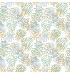 foral decoration with palm leaves vector image