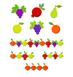 Fruits set and garlands vector
