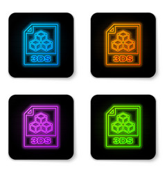 glowing neon 3ds file document icon download 3ds vector image