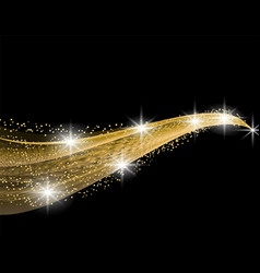 golden wave with a shine effect on a black vector image