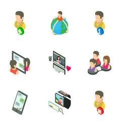 Gossip icons set isometric style vector