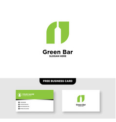 Green bar and leaf logo and business card template vector