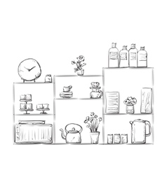 Hand drawn cupboard with dishes vector image