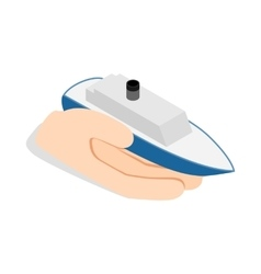 Hand holds ship icon isometric 3d style vector image