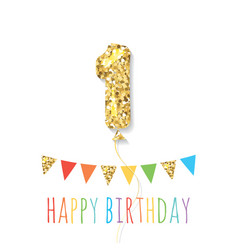 happy birthday greeting card with gold glitter vector image