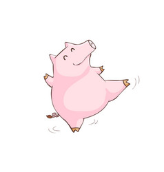 Happy pink pig happy dance cartoon xa vector