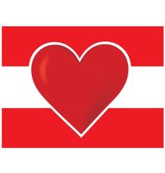 Heart austria flagred heart vector