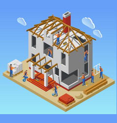 house construction phases isometric poster vector image