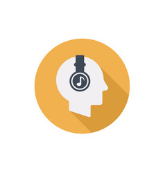 human head with headphones flat round icon vector image